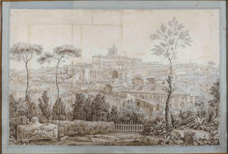 Luigi Rossini, Il Monte Quirinale preso in cima al Palazzo Caligola, 1827, matita e inchiostro color seppia acquerellato su carta vergata con cornice riquadrata, 56,2 x 86 cm, Collezione privata