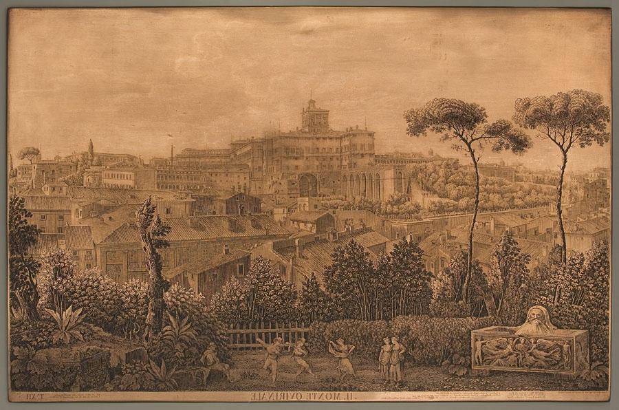"""Luigi Rossini, Il Monte Quirinale, 1827, rame, 56,2 x 86 cm, tavola XII della raccolta """"I sette colli di Roma antica e moderna"""", Istituto Nazionale per la Grafica, Roma, colloc. 1709/186"""