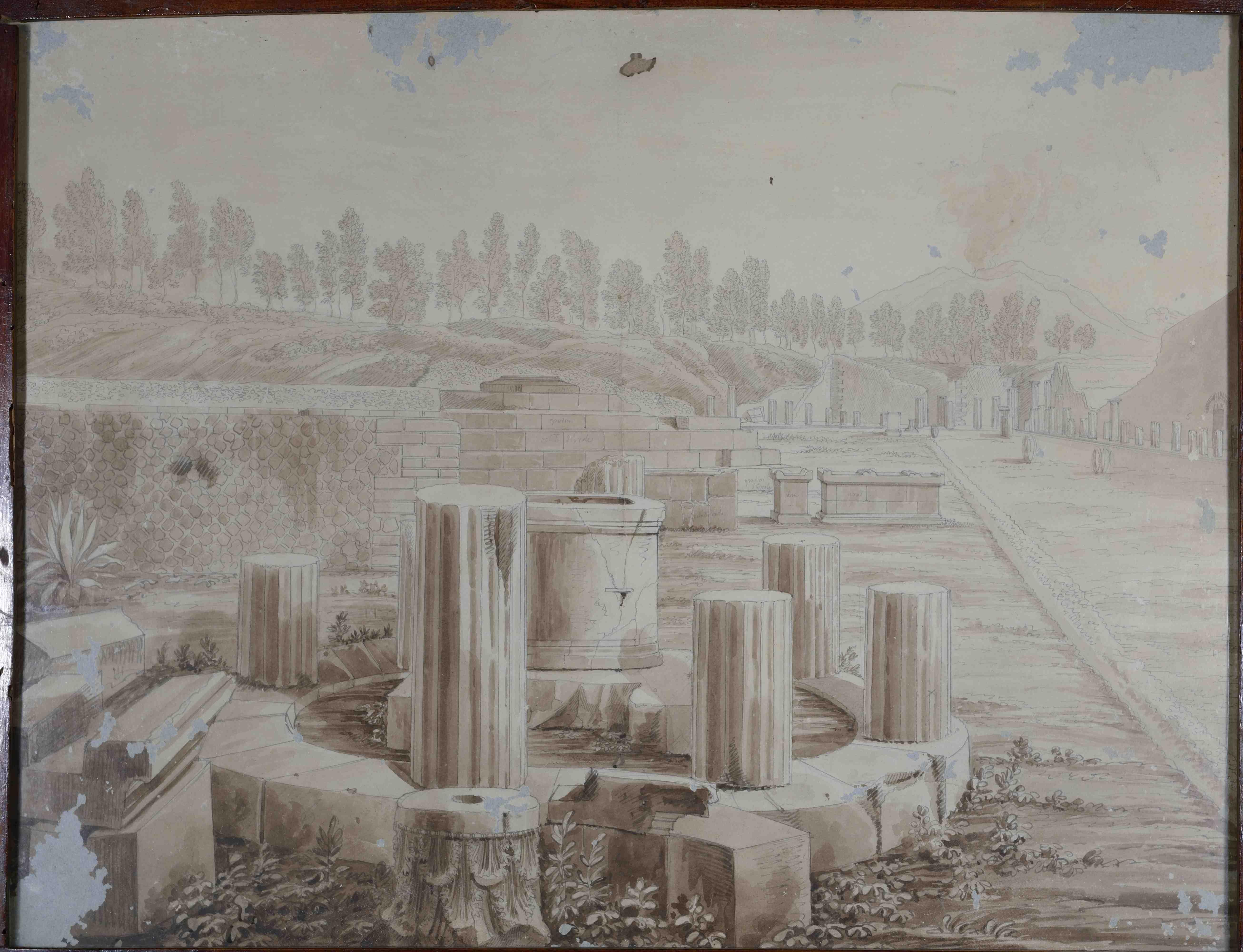 Luigi Rossini, Puteale in Pompei, s.d. (ca. 1830), matita e inchiostro color seppia acquerellato su carta vergata, 46 x 57,5 cm, Collezione privata
