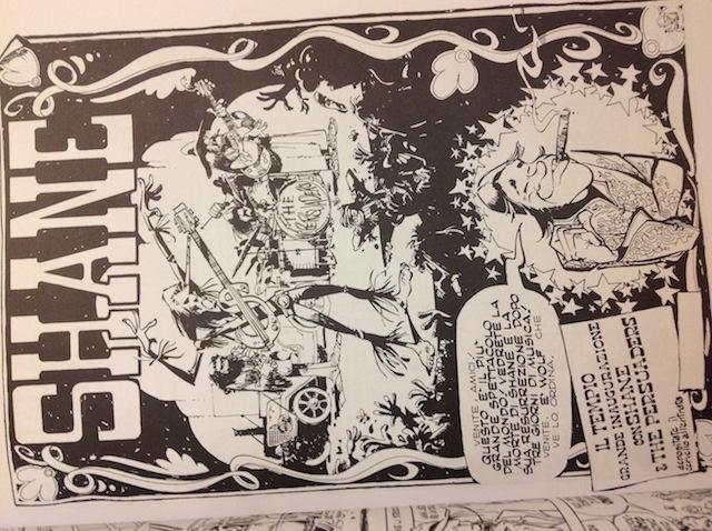 """Titolo enorme incasellato in una semi-locandina con venature psichedeliche, in una storia ambientata nel mondo musicale e nello show-biz degli anni '70. Da \\\\\\\\\\\\\\\""""Shane\\\\\\\\\\\\\\\"""", Corriere dei ragazzi n.50 del 1975"""