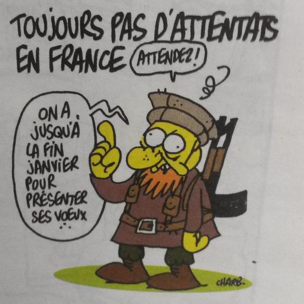 Il settimanale satirico francese Charlie Hebdo è stato attaccato oggi da due uomini armati, che hannoucciso 12 persone al grido di: «Abbiamo vendicato il profetaMaometto, abbiamo ucciso Charlie Hebdo» (www.tempiold.adresponse.it/charlie-hebdo-attentato-al-giornale-satirico-francese-12-morti-terroristi-allahu-akbar-vendicheremo-il-profeta). Il giornaleè famoso per le sue vignette dissacranti di tutte le religioni e in particolare dell'islam. Nell'ultimo numero uscito questa settimana, l'ultima vignetta del direttore Stephan Charbonnier, che si firma «Charb», tra i giornalisti uccisi nell'attentato, si è rivelata tristemente profetica. La scritta:«Ancora nessun attentato in Francia», sormonta il disegno di un terrorista islamicobarbuto, che avverte: «Aspettate, abbiamo tempo fino al termine di gennaio per farvi i nostri auguri...».