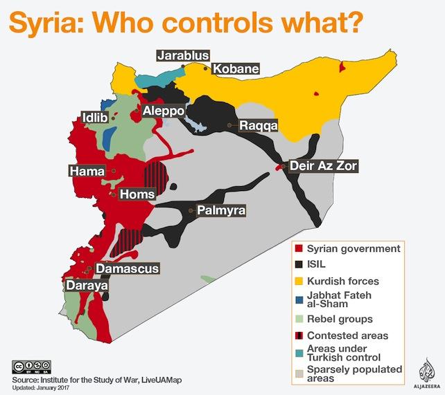 Dopo la conquista di Aleppo, l'accordo tra Russia, Iran e Turchia per un cessate il fuoco che per ora regge e l'indebolimento di ribelli e Isis, Assad sta effettivamente «vincendo la guerra», scrive il New York Times. Ma «che cosa sta vincendo»? Come dimostra questa mappa realizzata da Al Jazeera, il paese continua ad essere diviso, in mano a tanti attori diversi.</br></br>  Se il governo siriano (rosso) controlla la costa e le città più importanti del paese, ad eccezione di una zona nel sud-ovest ancora in mano ai ribelli, il nord è in mano a curdi (giallo) e turchi (azzurro). Erdogan, dopo aver voltato le spalle agli Stati Uniti per allearsi con Putin, avrà mano libera per conquistare ai curdi più territori possibile.</br></br>  La parte centrale e orientale del paese, principalmente desertica, è governata invece dall'Isis, che mantiene il controllo della roccaforte Raqqa e del confine con l'Iraq. Infine, a nord-ovest, tutta la provincia di Idlib è in mano a una coalizione di ribelli, finanziati da Qatar e Arabia Saudita, e Al-Nusra (che ha cambiato nome in Fateh al-Sham), la fazione siriana di Al-Qaeda.</br></br>  Assad sta vincendo dunque e si presenterà in un posizione di forza ai colloqui di pace di Astana di fine gennaio. Ma la Siria è ancora lontana dall'essere il paese che conoscevamo nel 2011.</br></br>