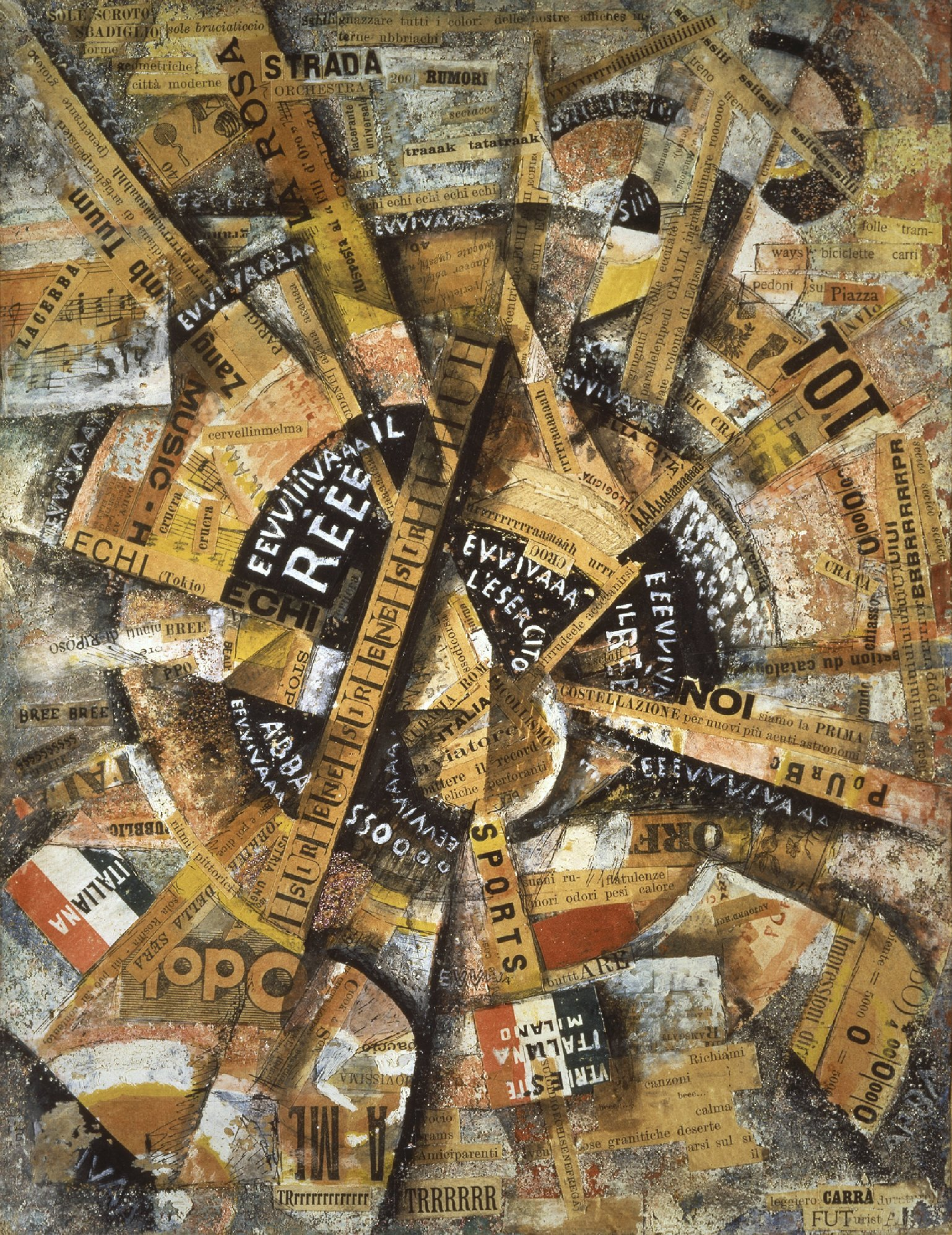 Carlo Carrà Interventionist Demonstration (Manifestazione Interventista), 1914