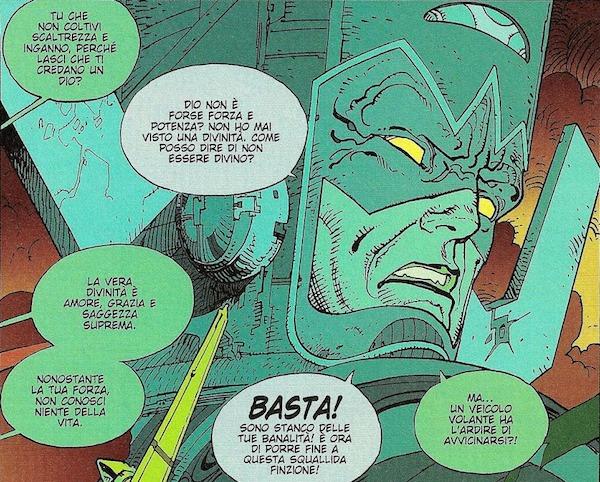 Le dimensioni colossali di Galactus e i tentativi dell'araldo di fargli avere pietà nei confronti di un mondo ricco di peccato, ma degno di vivere