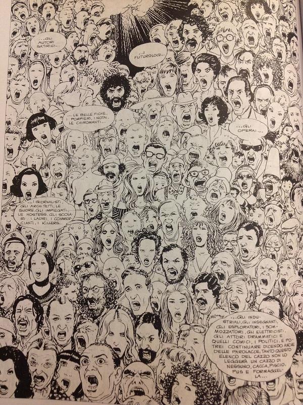 Una dettagliata e complessa pagina di volti, tutti diversi tutti espressivi, con l'elenco di professioni e di tipi umani che attraversano tutte le epoche: Il suo tratto qui è molto pulito, con una china leggera.
