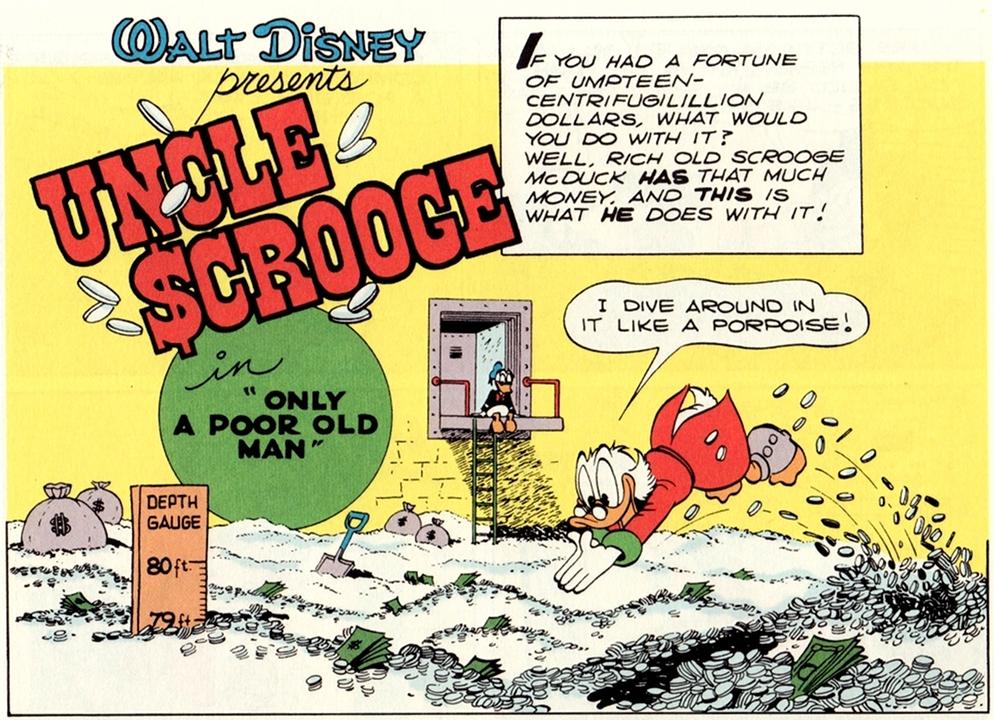 Splash page di apertura originale della Disfida dei Dollari, con il beato Paperone che nuota nel suo denaro come un pesce baleno.