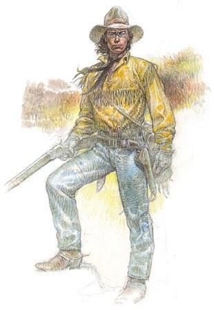 Tex da giovane secondo Paolo Eleuteri Serpieri. Tutto nel suo lavoro western è preciso e accurato, fedele alla realtà storica