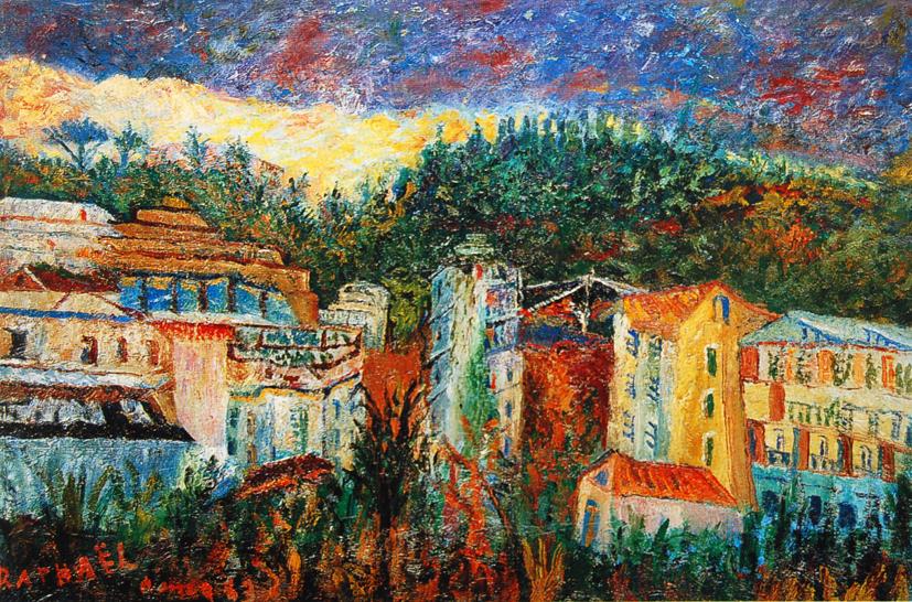 Antonietta Raphael, Paesaggio di Palermo, 1963, olio su compensato, hxb40x60,5