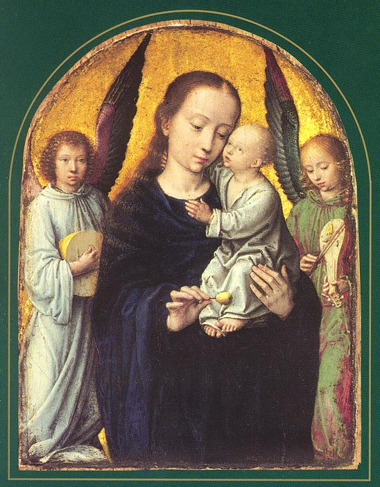 Gerard David, Virgin and child with music making angels (Madonna con bambino ed angeli musicanti), 1490-95