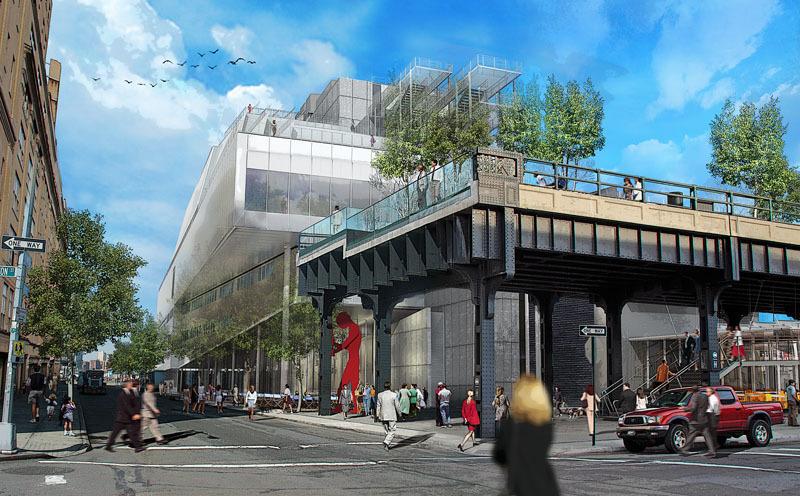 Rendering di come sarà il nuovo museo. Si nota il dialogo con la strada e l'high line che comincia.