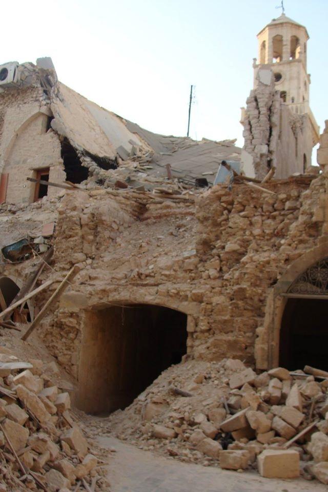 Quello che resta della chiesa armena apostolica dei Quaranta Martiri, la più antica (XI secolo) e rinomata di Aleppo. È stata distrutta dai ribelli. (Foto di Rodolfo Casadei per Tempi)