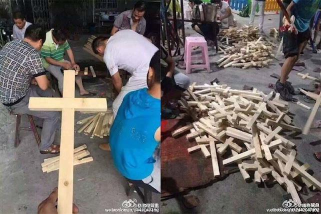 Il partito comunista cinese distrugge le croci e le toglie dalla sommità delle chiese? E i cristiani ne costruiscono a centinaia per diffonderle «ovunque». È questa, secondo le foto pubblicate su Weibo, la risposta di alcuni cristiani di Wenzhou alla campagna di demolizione di croci (e chiese) lanciata dal governo comunista della provincia di Zhejiang nel 2014. Circa 1.200croci da allora sarebbero già state demolite.