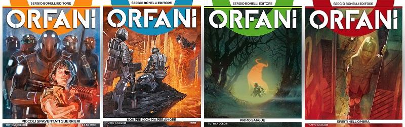 Ecco le prime quattro copertine di Orfani, tutte disegnate da Massimo Carnevale. Si noti l'elegante design, la linea editoriale semplice ma d'impatto e apertamente riconoscibile, lo spazio lasciato al colore e copertine variegate.