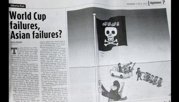 La pagina del quotidiano Jakarta Post dove è comparsa la vignetta