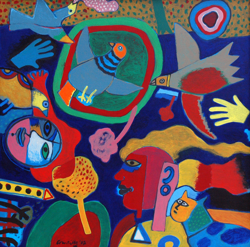 Corneille, Petite Musique du Printemps, 1987, oil on canvas, 100x100
