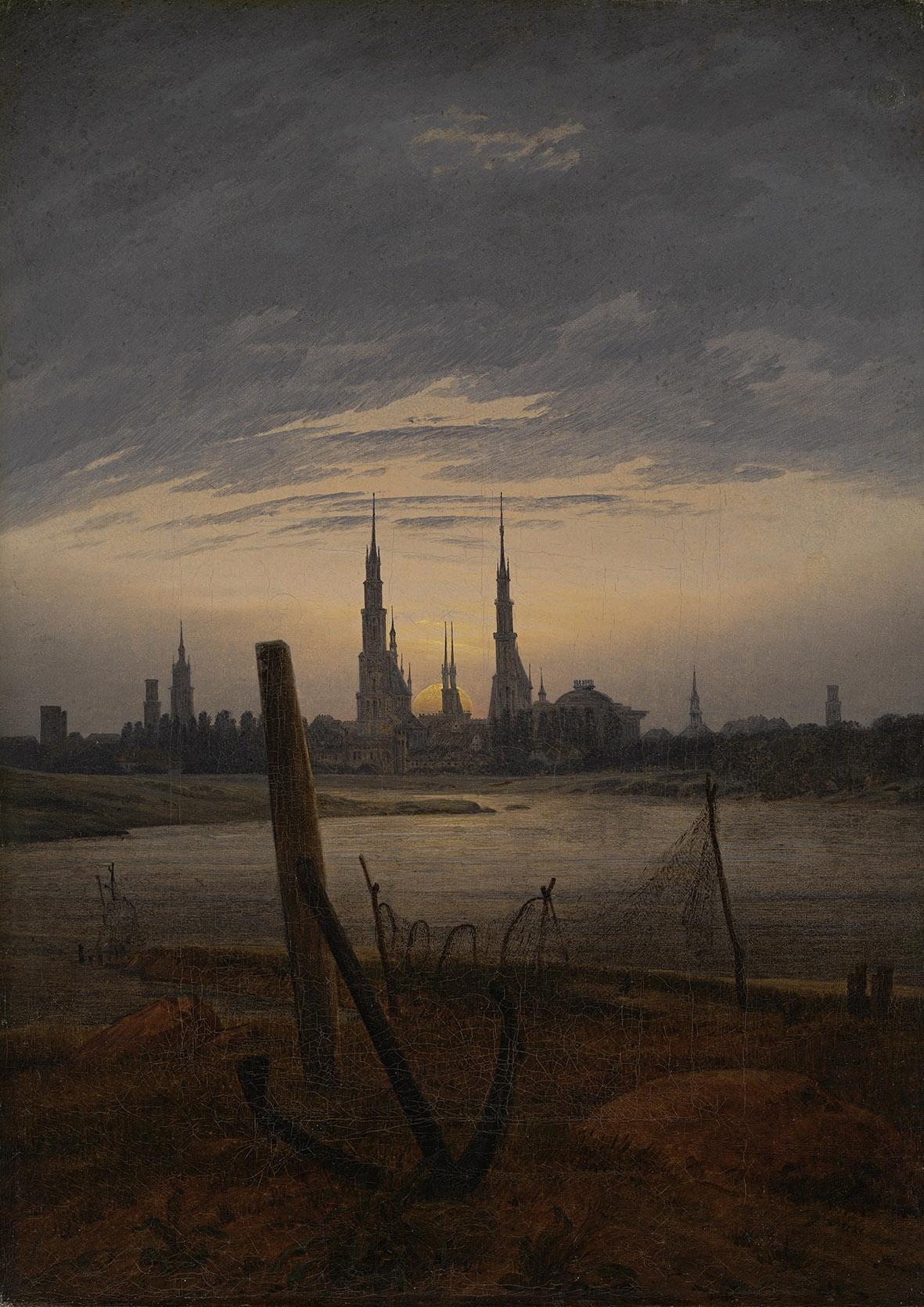 Caspar David Friedrich, Città al chiaro di luna, 1817 olio su tela, cm 45,8 x 33 Winterthur, Museum Oskar Reinhart am Stadtgarten