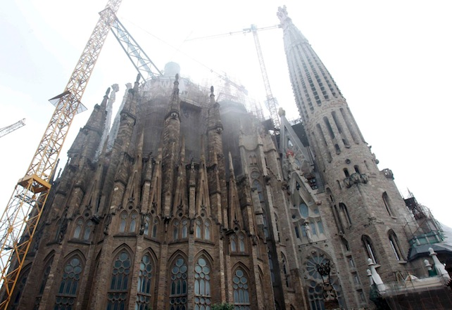 Smoke rises fromthe Basilica of the Sagrada Familia in Barcelona