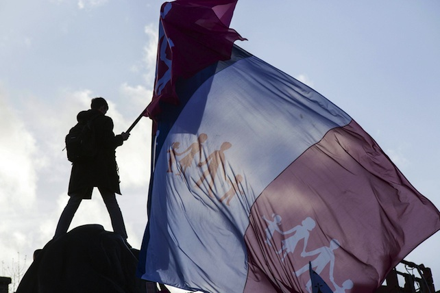 Demonstrators protest in Paris against the French government