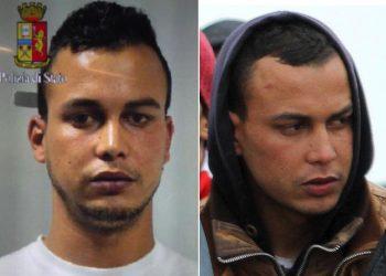 La combo mostra, a sinistra, la foto segnaletica fornita dalla Polizia di Stato di Abdelmajid Touil e, a destra, una immagine del ragazzo marocchino, uno dei presunti autori materiali dell'attentato al museo del Bardo a Tunisi, prima di sbarcare il 17 febbraio 2015 a Porto Empedocle. Il ragazzo Ë stato arrestato oggi a Gaggiano (Milano). ANSA/PASQUALE CLAUDIO MONTANA LAMPO