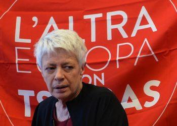 La capolista del movimento 'L'altra Europa con Tsipras' Barbara Spinelli, durante la conferenza stampa per commentare il risultato del voto per l'elezione dei rappresentanti italiani al parlamento europeo a Roma, 26 maggio 2014. ANSA / MAURIZIO BRAMBATTI