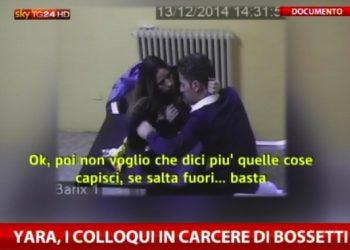 Un momento dei colloqui in carcere tra Bossetti e la moglie, 13 dicembre 2014. ANSA/SkyTG24 ++ NO SALES, EDITORIAL USE ONLY ++ NO TV ++