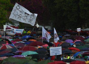 Un momento della manifestazione 'Difendiamo i nostri figli' contro il ddl Cirinn‡, le unioni civili e quelle omosessuali a piazza San Giovanni, Roma, 20 giugno 2015. ANSA/ETTORE FERRARI