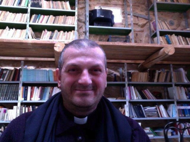 Fr Jacques Mourad from Mar Ellian Monastery in Syria. He has been abductedin Qaryatayn – a small town in central Syria around 65 miles (100 km) from Palmyra on 21.05.2015 – where for the past 12 years he had been ministering to the local Syro-Catholic community, while living in the monastery of Mar Elias. The last contact between Father Mourad and the Deir Mar Musa community was around midday on 21.05.2015. ONLY THIS VERY SMALL FILE QUALITY AVAILABLE - RECEIVED FROM A FACEBOOK PAGE!