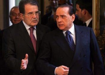 Silvio Berlusconi e Romano Prodi in un'immagine dell'8 maggio 2008.       ANSA/GIUSEPPE GIGLIA