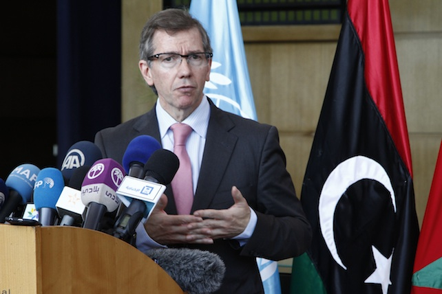 U.N. envoy to the Libya talks, Bernardino Leon, gives a statement to journalists as Libyan peace talks resumed in Skhirat, Morocco, on Friday Aug. 28, 2015, although the Tripoli delegation was missing from these talks.  Talks to form a national unity government in Libya moved forward Friday and the parties will reconvene next Thursday in Geneva to present their candidates for the prime minister and two deputies to lead the national unity government and get the war-torn country out of its crisis. (AP Photo/Paul Schemm)