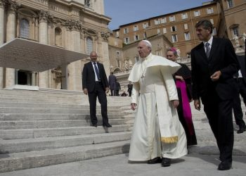 Pope Francis arrives for his weekly general audience in St. Peter's Square at the Vatican, Wednesday, Sept. 9, 2015. (AP Photo/Alessandra Tarantino)
