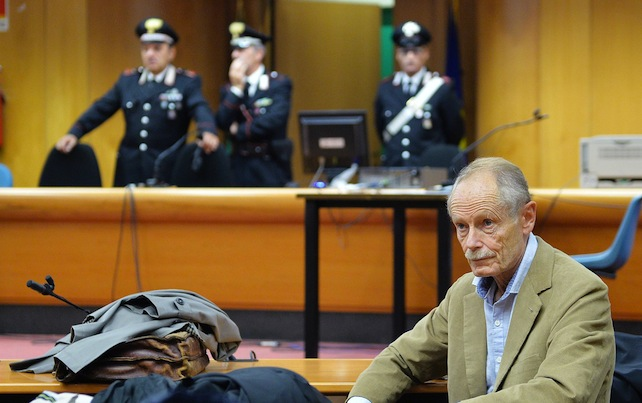 Italian writer Erri De Luca at Turin court. De Luca is on trial for allegedly instigating crime by encouraging No-Tav protestors, 19 october 2015,  ANSA/ ALESSANDRO DI MARCO