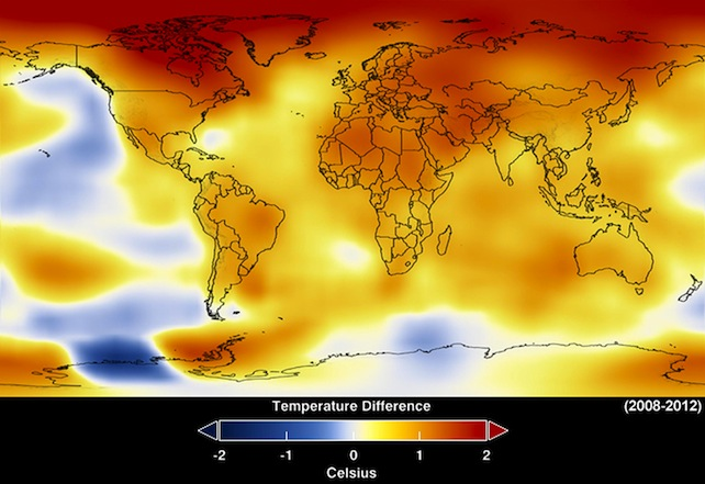 NASA Finds 2012 Sustained Long-Term Climate Warming Trend - NASA scientists say 2012 was the ninth warmest of any year since 1880, continuing a long-term trend of rising global temperatures. With the exception of 1998, the nine warmest years in the 132-year record all have occurred since 2000, with 2010 and 2005 ranking as the hottest years on record.NASA's Goddard Institute for Space Studies (GISS) in New York, which monitors global surface temperatures on an ongoing basis, released an updated analysis Tuesday that compares temperatures around the globe in 2012 to the average global temperature from the mid-20th century. The comparison shows how Earth continues to experience warmer temperatures than several decades ago. The average temperature in 2012 was about 58.3 degrees Fahrenheit (14.6 Celsius), which is 1.0 F (0.6 C) warmer than the mid-20th century baseline. The average global temperature has risen about 1.4 degrees F (0.8 C) since 1880, according to the new analysis, 16 January 2013. ANSA/NASA +++ NO SALES, EDITORIAL USE ONLY +++