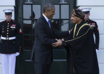 epa04747235 US President Barack Obama (L) welcomes Sayyid Fahad bin Mahmood Al Said (R), Deputy Prime Minister for the Council of Ministers' Affairs of the Sultanate of Oman, at the South Portico of the White House in Washington DC, USA, 13 May 2015. Obama welcomed leaders from Bahrain, Kuwait, Oman, Qatar, Saudi Arabia and the United Arab Emirates for a gathering of Gulf Cooperation Council countries.  EPA/MICHAEL REYNOLDS