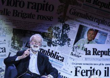 Il fondatore di Repubblica Eugenio Scalfari durante la celebrazione dei 40 anni di Repubblica all'auditorium Parco della Musica,  Roma, 14 gennaio 2016. ANSA/ANGELO CARCONI - CLAUDIO PERI