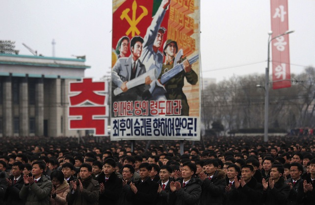 North Koreans gather at the Kim Il Sung Square to celebrate a satellite launch on Monday, Feb. 8, 2016, in Pyongyang, North Korea. People in Pyongyang danced and watched fireworks the day after a rocket launch that has been strongly condemned by many countries around the world. (AP Photo/Jon Chol Jin)