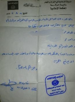 documento-tassa-jizya-isis-raqqa-cristiani