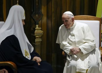 Pope Francis meets with Russian Orthodox Church Patriarch Kirill at the Jose Marti International airport in Havana, Friday, Feb. 12, 2016. Pope Francis landed in Cuba Friday for the first-ever papal meeting with Patriarch Kirill, the head of the Russian Orthodox Church, a historic development in the 1,000-year schism within Christianity.(AP Photo/Gregorio Borgia)