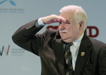FILE - In this Oct. 22, 2013 file photo Nobel Peace Prize  laureate and Polandís former President,  Lech Walesa,  looks at the audience during the annual meeting of laureates in Warsaw. The head of Poland's National Remembrance Institute said Thursday Feb. 18, 2016 that recently seized documents show that Walesa was a paid informant for the communist-era secret security from 1970 to 1976. (AP Photo/Alik Keplicz, file)