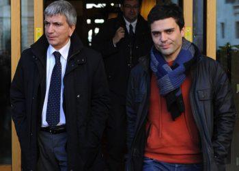 Nichi Vendola con il compagno Eddy Testa in una immagine del 07 gennaio 2013.        ANSA/ETTORE FERRARI