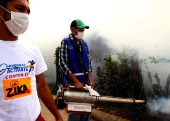 epa05147313 A handout picture released by the Honduran Presidential House shows an employees of the Honduran government fumigating an area during a campaign preventing the possible spreading of the Zika virus (ZIKV) and against mosquito breeding sites, in Catacamas, Honduras, 06 February 2016. The outbreak of the normally harmless fever in the Americas has coincided with rising numbers of suspected cases of microcephaly. Babies born with microcephaly have abnormally small heads. Some governments in the region have recommended that women should not get pregnant now.  EPA/HONDURAN PRESIDENTIAL HOUSE  HANDOUT EDITORIAL USE ONLY/NO SALES