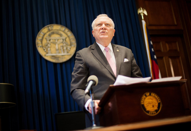 """Georgia Gov. Nathan Deal speaks during a press conference as he announces he has vetoed legislation allowing clergy to refuse performing gay marriage and protecting people who refuse to attend the ceremonies, Monday, March 28, 2016, in Atlanta. The Republican rejected the bill on Monday, saying """"I have examined the protections that this bill proposes to provide to the faith based community and I can find no examples of any of those circumstances occurring in our state."""" (AP Photo/David Goldman)"""