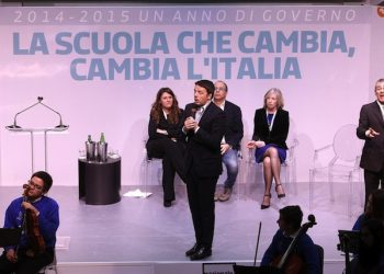 Italian Prime Minister, Matteo Renzi, talks during his speech at the Democratic Party initiative for the School Reform and also organized to celebrate the first year of the Government, Rome, Italy, 22 February 2015. ANSA/GIUSEPPE LAMI