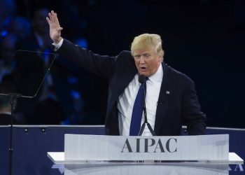 epa05224812 2016 Republican presidential candidate Donald Trump delivers remarks at the American Israel Political Action Committee (AIPAC) Policy Conference in Washington, DC, USA, 21 March 2016. AIPAC is an American pro-Israel lobby group.  EPA/SHAWN THEW