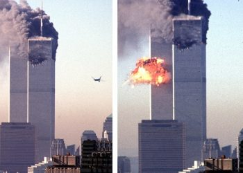 FFM02 - 20020902 - NEW YORK CITY, UNITED STATES : (FILES) This composite file photo shows a second hijacked commercial plane about to crash into the second tower (left) of the World Trade Center in New York, 11 September 2001. and the explosive impact (right). Last year's terrorist attacks on the World Trade Center and the Pentagon, killing about 3.000 people, lead to the massive strike on Osama bin-Laden's terrorist network al-Qaida in Afghanistan and all over the world.   (ORIGINALLY ISSUED AS DCA100)  EPA PHOTO          AFPI / SETH MCCALLISTER