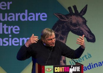 Il fondatore di Libera, Don Luigi Ciotti, durante il suo intervento a ControMafie - Stati Generali dell'Antimafia 2014 presso l'auditorium di via della Conciliazione a Roma, 24 ottobre 2014. ANSA/CLAUDIO PERI