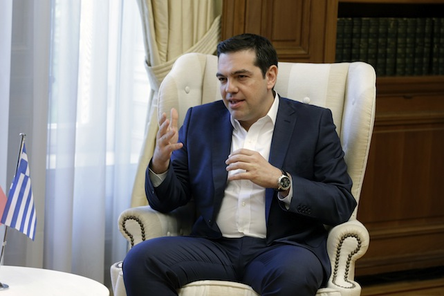 Greece's Prime Minster Alexis Tsipras speaks with his Portuguese counterpart Antonio Costa at the Maximos Mansion in Athens on Monday, April 11, 2016. Greek officials and representatives of the country's bailout creditors will have another go at overcoming disagreements on austerity measures, after all-night talks failed to produce a breakthrough. Greece has depended on rescue loans since 2010, and signed a third, 86-billion-euro ($98-billion) bailout deal last summer. (AP Photo/Thanassis Stavrakis)
