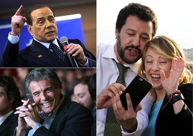 La combo, realizzata con tre immagini di archivio, mostra Silvio Berlusconi, Alfio Marchini, Matteo Salvini e Giorgia Meloni. ANSA
