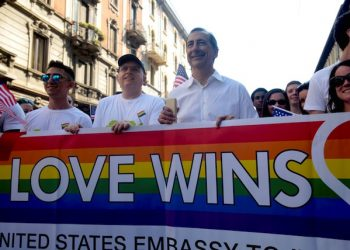 New Milan Mayor Giuseppe Sala (L-3) attends a gay pride parade led by the LGBT community in Milan, Italy, 25 June 2016. ANSA/MOURAD BALTI TOUATI