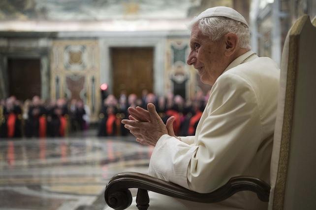 Un momento delle celebrazioni per il sessantacinquesimo anniversario del sacerdozio del Papa emerito Benedetto XVI, Citt‡ del Vaticano, 28 Giugno 2016. ANSA/ US/ OSSERVATORE ROMANO