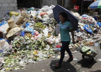 epa03731473 A Filipino pulling a small shopping trolley of vegetables walks past spoiled produce dumped at a lot behind a public market in Quezon City, east of Manila, Philippines 05 June 2013. To mark World Environment Day, United Nations Secretary-General Ban Ki-moon called for measures to address loss and waste in food systems as part of efforts to combat hunger. According to the UN Food and Agriculture Organization (FAO), 1.3 billion tons of food are wasted, and one-third of global food production is either wasted or lost.  EPA/ROLEX DELA PENA